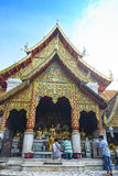 Are praying for a religious ceremony in thai temple during touri Royalty Free Stock Photography