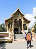 Are praying for a religious ceremony in thai temple during touri Stock Photography
