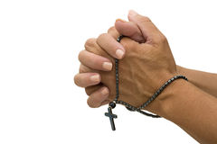 Praying with a Rosary Royalty Free Stock Photography