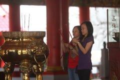 Praying in Sam poo kong temple Stock Images