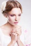 Praying sensual woman. Despair and hopelessness. Worship Royalty Free Stock Photography