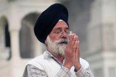 Praying Sikh in Amritsar. Sikh in front of Golden Temple in Gloden Temple in Amritsar Royalty Free Stock Photo