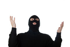 Praying terrorist isolated on white. Man looking to top Stock Image