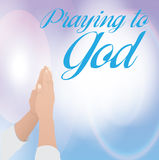 Praying to God. Over sky background vector illustration Royalty Free Stock Images