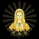 Praying Virgin Mary. With lilies in rays of sun. Outline cartoon on black background. Black and gold vector illustration Stock Photography