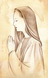 Praying Virgin Mary - pencil drawing. A profile portrait of Mary praying God. Pencils on watercolored sepia paper royalty free illustration