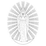 Praying Virgin Mary. In rays of sun, standing on moon. Outline cartoon on white background. Black and white coloring page Stock Image