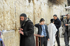 Praying at the Wailing Wall Jerusalem Royalty Free Stock Photos