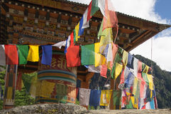 Praying wheel. With a view of Taktsang monastery Bhutan Stock Photos
