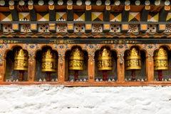 Praying wheels, Bhutan Sep 2015. Praying wheels, around temple in Bhutan Stock Photo