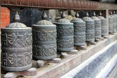 Praying wheels at Bubahal in Patan, Nepal Stock Photo