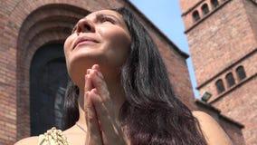 Praying Woman at Christian Church stock video