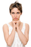 Praying woman. Praying sensual young woman. on white islolated stock images