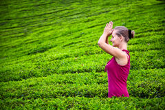 Praying woman in tea plantations Stock Images