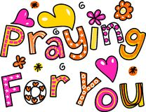 Praying for You Cartoon Text Expression Royalty Free Stock Image