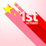 PRC National day holiday long shadow stock illustration