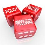 Prácticas de proceso de las reglas Red Dice en cuadritos Company del procedimiento 3 de la política Foto de archivo libre de regalías