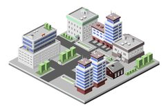 Prédios de escritórios isométricos Fotografia de Stock