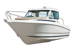 Prędkości motorowa łódź. Odizolowywający nad bielem Fotografia Royalty Free