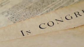 Preámbulo de la Declaración de Derechos de Estados Unidos a la constitución almacen de metraje de vídeo