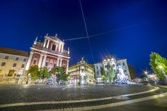 PreÅ ¡ eren正方形,街市的卢布尔雅那,斯洛文尼亚 免版税库存照片