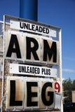 Preço, braço e pé de gás elevado Imagens de Stock