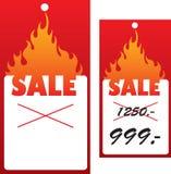 Preço com flama. Fotos de Stock Royalty Free