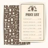 Preço da barbearia ou lista do folheto com preços nos penteados e nos cortes de cabelo Fotografia de Stock