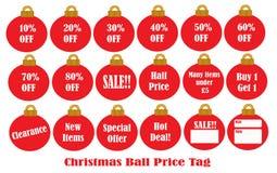 Preço da esfera do Natal Fotografia de Stock Royalty Free