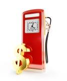 Preço de combustível no dólar 3d Illustratns em um backgroundio branco Imagens de Stock Royalty Free