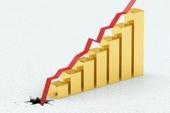 Preço de queda para o conceito do ouro Foto de Stock