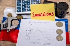 Preço do petróleo cru rublo da inflação Sanções do russo Fotografia de Stock