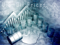 Preço do petróleo de cilindro de petróleo e Imagem de Stock Royalty Free