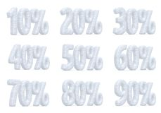 Preço eliminado, coleção dos por cento da neve da oferta do Natal Imagens de Stock Royalty Free