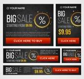 Preço grande, meio e bandeiras de venda dia Vetor Fotografia de Stock Royalty Free