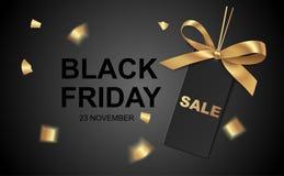 Preço preto com curva e texto dourados Bandeira da venda ilustração royalty free