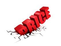 Preço que cai para baixo dentro ao furo Imagem de Stock Royalty Free