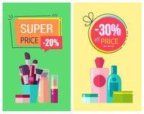 Preço super e -30 fora da ilustração do vetor do preço Imagens de Stock Royalty Free