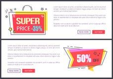 Preço super -35 fora da ilustração do vetor das páginas Imagem de Stock