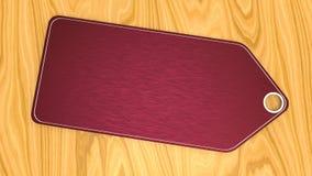 Preço textured vermelho vazio na mesa de madeira ilustração do vetor