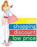 Preços baixos, compra, venda, discontos ilustração do vetor