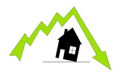 Preços da habitação de queda Foto de Stock Royalty Free