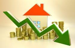 Preços de diminuição dos bens imobiliários Foto de Stock
