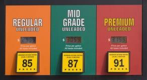 Preços de gás em uma bomba imagem de stock royalty free