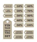Preços do vintage do disconto Imagens de Stock