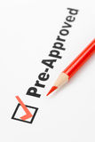 Pre-Approved. Text Pre-Approved close up shot for background royalty free stock photos