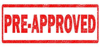 Pre-approved stamp on white background. Pre-approved sign Stock Photography