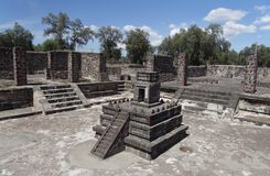 Pre Aztec Temple Atatelco. A miniature pre aztec temple with three levels and a stair in Atetelco, archeological site next to Teotihuacan, Mexico Stock Photo