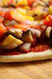 Pre-baked Vegetable Pizza Close Up Stock Photos