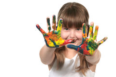 Pre bambino felice del banco con le mani verniciate Fotografie Stock